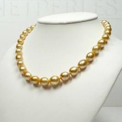 Collier de perles dorées Philippines baroques de 8,5 à 13 mm AA+
