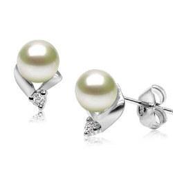 Boucles d'Oreilles Argent 925, Zirconiums et Perles d'Eau Douce 6-7 mm AAA