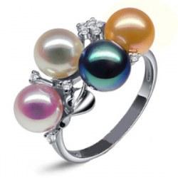 Bague en Or 9k avec 4 perles d'eau douce 6-7 mm AAA et diamants