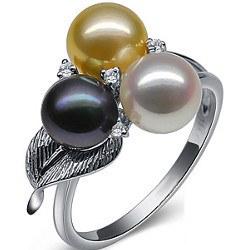 Bague en Or 9 carats diamants et 3 perles d'Akoya blanche noire et dorée