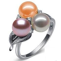 Bague en Or 9k avec 3 perles d'eau douce 6-7 mm AAA et diamants