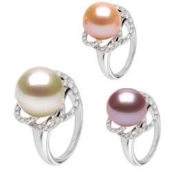 Bague Or 18k et diamants avec perle de culture Doucehadama