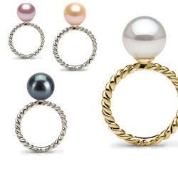 Bague Or 18k avec perle d'Eau Douce qualité AAA
