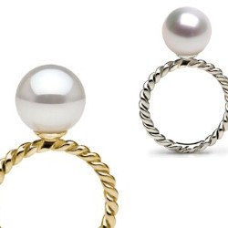 Bague en Or 9k avec perle d'Akoya blanche AAA