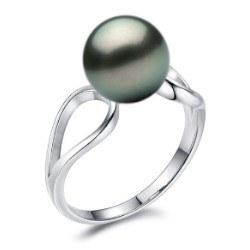 Bague en Argent 925 avec perle de culture de Tahiti 8-9 mm AAA