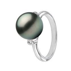 Bague Argent 925 et diamants avec perle de culture de Tahiti 9-10 mm