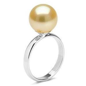 Bague Rosalie Argent 925 avec perle dorée des Philippines Qualité AAA