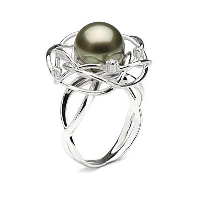 Bague en Or 18 carats et perle de culture de Tahiti 10-11 mm AAA