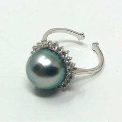 Bague Argent 925 et zirconiums avec perle de Tahiti 10 mm qualité AA+