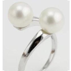 Bague Argent 925 2 perles d'eau douce blanche 7,5-8,5 mm AAA