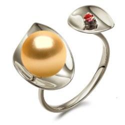 Bague Argent 925 perle Dorée des Philippines 9-10 mm AAA et tourmaline rouge