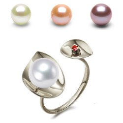 Bague Argent 925 perle d'Eau Douce DOUCEHADAMA et tourmaline rouge