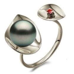 Bague Argent 925 perle de Tahiti AAA et tourmaline rouge