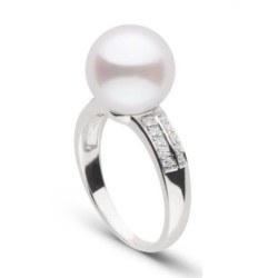 Bague Or Gris 18k diamants perle d'Akoya blanche orient rosé 8,5-9 mm AAA