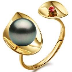 Bague Or 18k perle de Tahiti AAA et tourmaline rouge