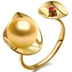Bague Or 9k perle Dorée des Philippines 9-10 mm AAA et tourmaline rouge