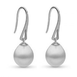 Boucles d'oreilles Or Gris 9k avec Perles gouttes Blanches d'Australie 10-11 mm AA+/AAA