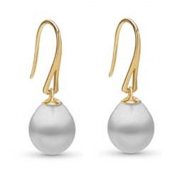 Boucles d'oreilles Or 18k avec Perles gouttes Blanches d'Australie 10-11 mm AA+/AAA