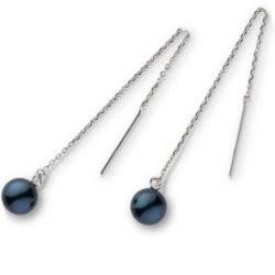 Paire de boucles d'Oreilles en Argent 925 perles d'Akoya noires 7,5 à 8 mm