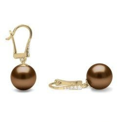 Boucles d'Oreilles Or Gris 14k diamants et perles de Tahiti Chocolat 9-10 mm AA/AA+