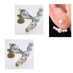 Boucles d'Oreilles de perles de Culture d'eau douce 6 perles en forme bouton 3,5 et 4 mm AA+