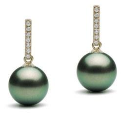 Boucles d'Oreilles Or 9 carats Perles de Tahiti et diamants