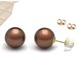 Boucles d'Oreilles Or 18k silicone Perles Chocolat Eau Douce AAA