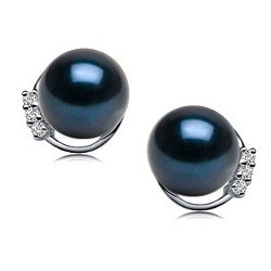 Paire de boucles d'Oreilles en Or 18k diamants perles d'Akoya Noires 7,5 à 8 mm