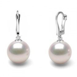 Boucles d'Oreilles Dormeuses Or 14k perles d'Akoya HANADAMA blanches