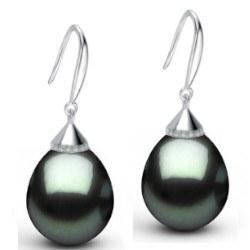 Boucles d'oreilles en Argent 925 perles de Tahiti Goutte AAA