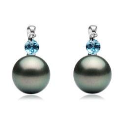 Boucles d'Oreilles Or Gris 18k Crystal bleu et Perles de Tahiti AAA