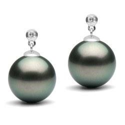 Boucles d'Oreilles Or 18k 0,04ct diamants et perles de culture de Tahiti