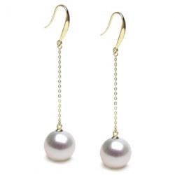Boucles d'Oreilles Or 18k et perles d'Australie blanches AAA
