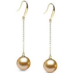 Boucles d'Oreilles Or Jaune 18k perles des Philippines de 9-10 mm dorées AAA