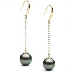 Boucles d'Oreilles Or 18 carats Perles noires de Tahiti