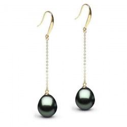 Boucles d'oreille or 18k perles de Tahiti Goutte AAA