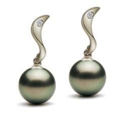 Boucles d'oreilles en Or 18k diamants perles de Tahiti