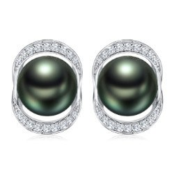 Boucles d'Oreilles Or 18k Diamants perles de Tahiti 8-9 mm AAA