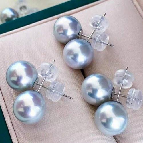Boucles d'Oreilles Or Jaune 18k silicone Perles d'Akoya bleues qualité AAA
