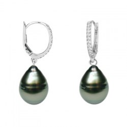 Boucles d'Oreilles Perles de Tahiti Baroques et diamants