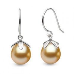 Boucles d'oreilles en Argent 925 perles dorées Philippines Gouttes 10-11 mm AAA