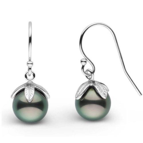 Boucles d'oreilles en Argent 925 et perles de Tahiti 8-9 mm