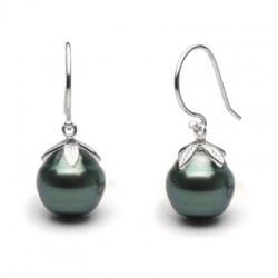 Boucles d'oreilles Argent 925 perles de Tahiti Baroques gouttes cerclées 10-11 mm