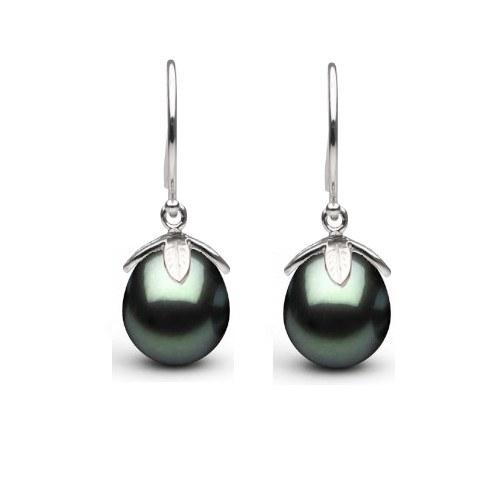 Boucles d'oreilles en or 14 carats perles de Tahiti Goutte 10-11 mm AAA