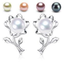 Boucles d'Oreilles Fleurs Argent 925 Perles d' Eau Douce 6-7 mm AAA