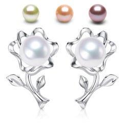 Boucles d'Oreilles Fleurs Argent 925 Perles d' Eau Douce 6-7 mm DOUCEHADAMA