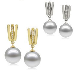 Boucles d'Oreilles Or 9k Diamants Perles d'Akoya qualité AAA
