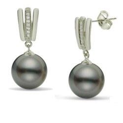 Boucles d'Oreilles Argent 925 Perles de Tahiti et zirconiums