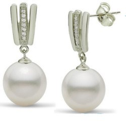 Boucles d'Oreilles Argent 925 Zirconiums Perles d'Akoya qualité AAA
