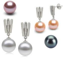 Boucles d'Oreilles Argent 925, Zirconiums et Perles d'Eau Douce AAA